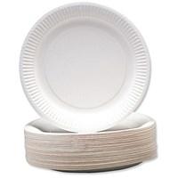 Disposable Paper Plates, 230mm Diameter, Pack of 100