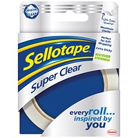 Sellotape Super Clear Premium Quality Easy Tear Tape, 24mm x 50m, Pack of 6