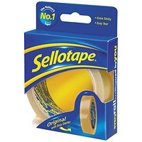 Sellotape Original Golden Tape Rolls - Retail Pack, Non-static, Easy-tear, 24mm x 50m, Pack of 6