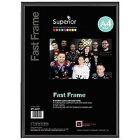 5 Star Black Photo Frame - Back Loading - Clear Front - A4