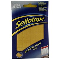 Sellotape Sticky Hook Pads, 20x20mm, Yellow, 96 Pads