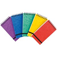 Wirebound Notepad, 176x76mm, Elasticated, Ruled, 120 Pages, Assortment A, Pack of 20
