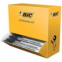 Bic Cristal Ball Pen, Clear Barrel, Black, Pack of 100
