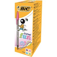 Bic Cristal Large Fashion Ball Pen, Smoked Barrel, Assorted Colours, Pack of 20