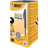 Bic M10 Clic Ball Pen Retractable, Blue, Pack of 50