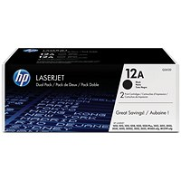 HP 12A Black Laser Toner Cartridge (Twin Pack)