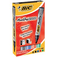 Bic Marking 2000 Permanent Marker, Bullet Tip, Assorted Colours, Pack of 4