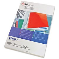 GBC Binding Covers, 250gsm, Gloss White, A4, Pack of 100