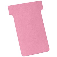 Nobo T-Cards 160gsm Tab Top 15mm W61x Bottom W48.5x Full H86mm Size 2 Pink Ref 2002008 [Pack 100]