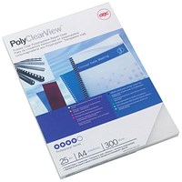 GBC PolyCovers ClearView Binding Covers, 300 micron, Frosted, A4, Pack of 100