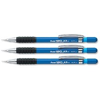 Pentel A317 Automatic Pencil with Rubber Grip and 2 x HB 0.7mm Lead, Blue Barrel, Pack of 12