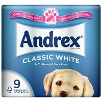 Andrex Classic Toilet Rolls, White, 2-Ply, 200 Sheets per Roll, 1 Pack of 9 Rolls