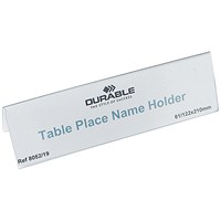 Durable Table Place Name Holders, 61x210mm, Pack of 25