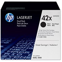 HP 42X Black Laser Toner Cartridges (Twin Pack)