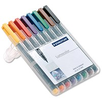 Staedtler 318 Lumocolor Permanent Pen / Fine / Assorted Colours / Wallet of 8