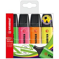 Stabilo Boss Highlighters, Assorted Colours, Wallet of 4