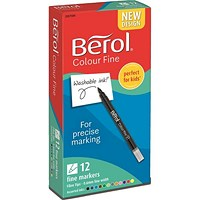 Berol Colour Fine Pens, Washable Ink, 0.6mm Line, Assorted Colours, Wallet of 12