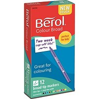 Berol Colour Broad Pen with Washable Ink, 1.7mm Line, Wallet of 12 Assorted Colours