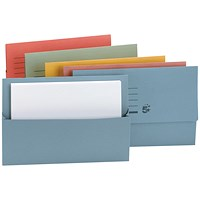 5 Star Document Wallets Half Flap, 250gsm, Foolscap, Assorted, Pack of 50