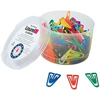 Plastic Paperclips - 35mm, Assorted Colours, Pack 200
