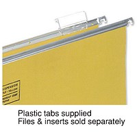 5 Star Clenched Bar Suspension File Tabs, Clear, Pack of 50