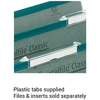 Rexel CrystalFiles Classic Extra-deep Linked Suspension File Tabs, Clear, Pack of 50