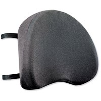 Ergonomic Back Support, Removable Cover, Adjustable Strap, Black