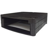 Monitor Screen Riser / 34-100mm Storage / Stackable / 20kg Load / Black