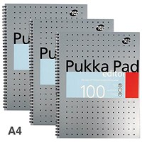 Pukka Pad Editor Wirebound Notebook, A4, 4 Holes, Perforated, Ruled, 100 Pages, Pack of 3