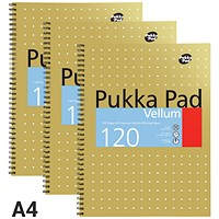 Pukka Pad Vellum Wirebound Notebook, A4, Perforated, Ruled, Margin, 120 Pages, Pack of 3