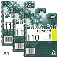 Pukka Pad Recycled Wirebound Notebook, A4, 4 Holes, Perforated, Ruled, 110 Pages, Pack of 3