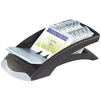 Durable Visifix Desk Business Card File, Indexed, Capacity: 200 Cards, Black