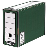 Fellowes Bankers Box Premium Transfer Files, Foolscap, Green & White, Pack of 10