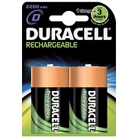 Duracell Rechargeable Battery, Accu NiMH 2200mAh, D, Pack of 2