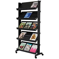 Fast Paper Mobile Literature Display, Single-Sided, 5 Shelves, Black