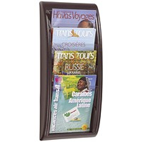 Fast Paper Wall-Mounted Literature Holder, 4 x A4 Pockets, Black