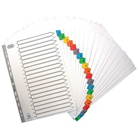 Elba Subject Dividers, 1-20, Multicoloured Tabs, A4, White