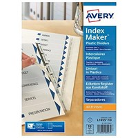 Avery Plastic IndexMaker Dividers, 10-Part, Clear Tabs, A4, White