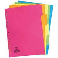 Elba Subject Dividers, 5-Part, A4, Bright Assorted