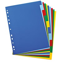 Elba Plastic Subject Dividers, 10 Part, A4, Multicoloured