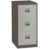 Trexus Foolscap Filing Cabinet, 3-Drawer, Brown & Cream