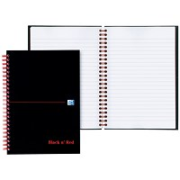 Black n' Red Glossy Black Wirebound Notebook, A6, Ruled & Perforated, 140 Pages, Pack of 5