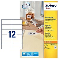 Avery Removable Laser Labels, 12 per Sheet, 99.1x42.3mm, White, L4743REV-25, 300 Labels