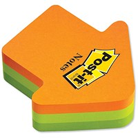 Post-it Arrow Shaped Notes, 225 Notes, Neon Orange & Green