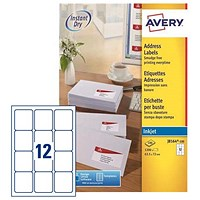 Avery Quick DRY Inkjet Addressing Labels / 12 per Sheet / 63.5x72mm / White / J8164-100 / 1200 Labels