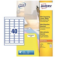 Avery Laser Mini Labels, 40 per Sheet, 45.7x25.4mm, White, L7654-25, 1000 Labels