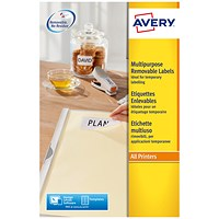 Avery Removable Laser Mini Labels, 189 per Sheet, 25.4x10mm, White, L4731REV-25, 4725 Labels