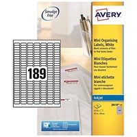 Avery Inkjet Mini Labels, 189 per Sheet, 25.4x10mm, White, J8658REV-25, 4725 Labels