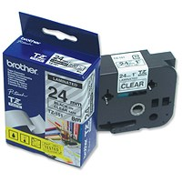 Brother P-touch TZE Label Tape 24mmx8m Black on Clear Ref TZE151