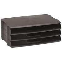 Avery DTR Wide Entry Stackable Letter Tray, Black, Pack of 3